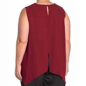 RACHEL ROY BLACK CHERRY RAENI DRAPED BACK TANK TOP